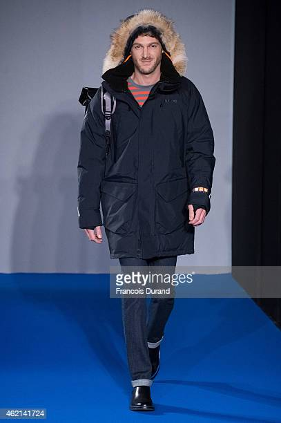 Model walks the runway during the Agnes B. Menswear Fall/Winter 2015-2016 show as part of Paris Fashion Week on January 25, 2015 in Paris, France.