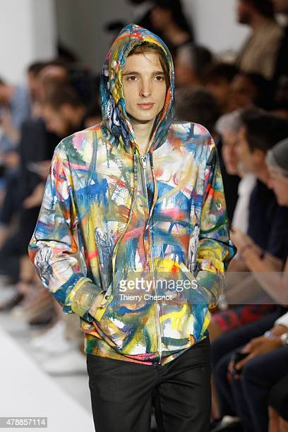 Model walks the runway during the Agnes B. Menswear Spring/Summer 2016 show as part of Paris Fashion Week on June 28, 2015 in Paris, France.