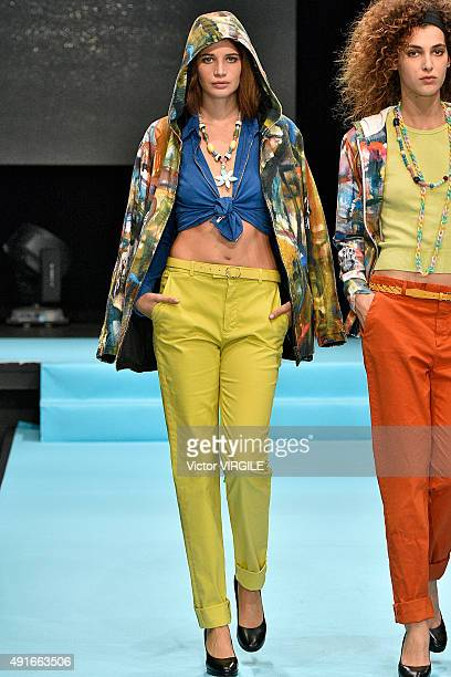 Model walks the runway during the Agnes B Ready to Wear show as part of the Paris Fashion Week Womenswear Spring/Summer 2016 at Palais de Tokyo on...