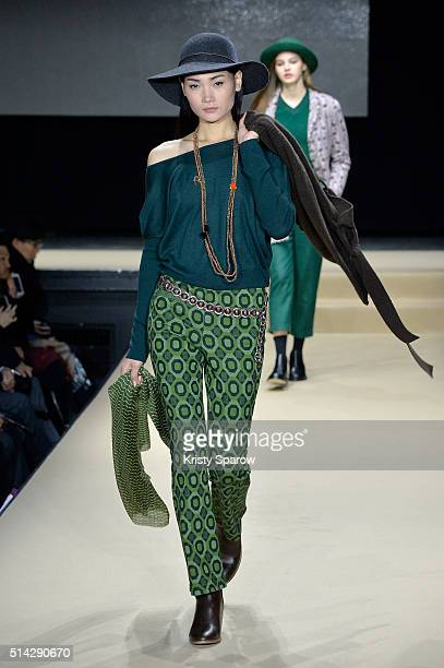 Model walks the runway during the Agnes B. Show as part of Paris Fashion Week Womenswear Fall/Winter 2016/2017 on March 8, 2016 in Paris, France.