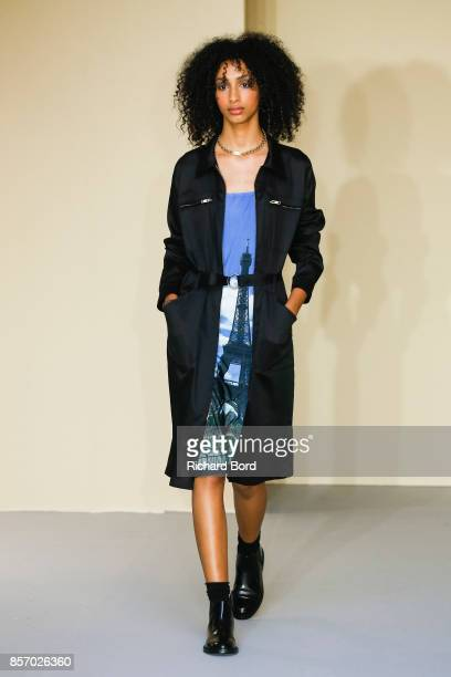 Model walks the runway during the Agnes B show as part of Paris Fashion Week Womenswear Spring/Summer 2018 on October 3, 2017 in Paris, France.