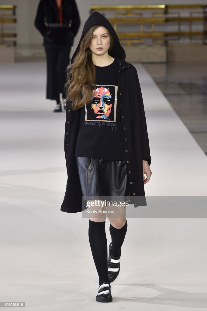 A model walks the runway during the Agnes B show as part of Paris Fashion Week Womenswear Fall/Winter 2018/2019 on March 5, 2018 in Paris, France.
