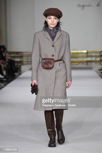 Model walks the runway during the Agnes B show as part of the Paris Fashion Week Womenswear Fall/Winter 2019/2020 on March 04, 2019 in Paris, France.