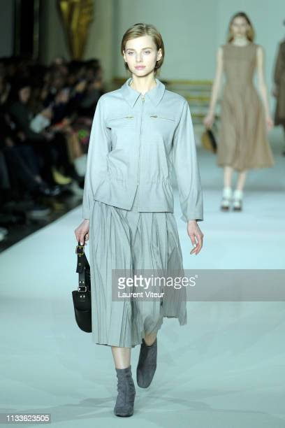 A model walks the runway during the Agnes B show as part of the Paris Fashion Week Womenswear Fall/Winter 2019/2020 on March 04 2019 in Paris France
