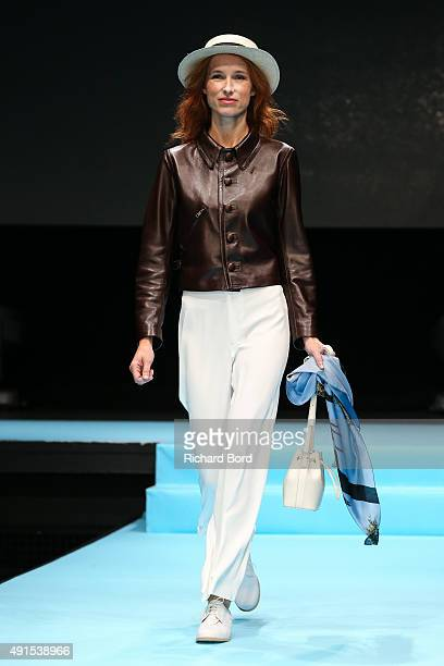 A model walks the runway during the Agnes B show as part of the Paris Fashion Week Womenswear Spring/Summer 2016 at Palais de Tokyo on October 6 2015...