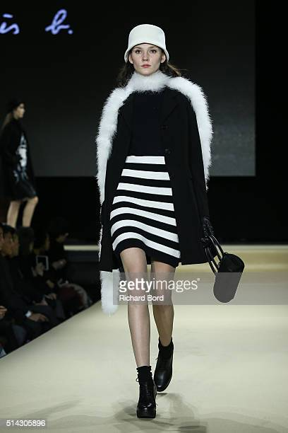 A model walks the runway during the Agnes B show as part of the Paris Fashion Week Womenswear Fall/Winter 2016/2017 on March 8 2016 in Paris France