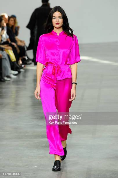 Model walks the runway during the Agnes B. Womenswear Spring/Summer 2020 show as part of Paris Fashion Week on September 30, 2019 in Paris, France.
