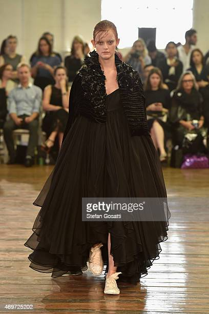 A model walks the runway during the Akira show at MercedesBenz Fashion Week Australia 2015 at Carriageworks on April 15 2015 in Sydney Australia