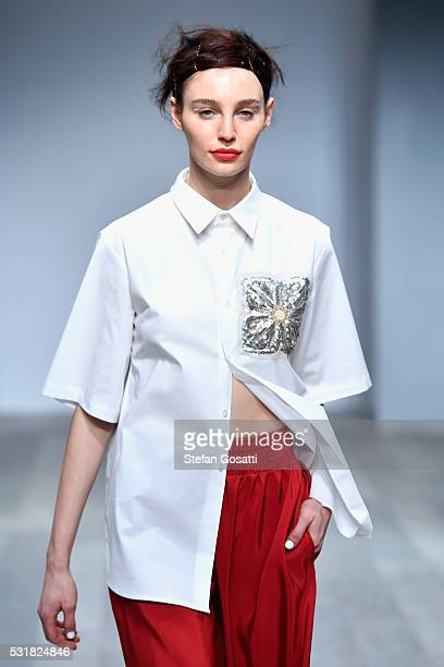 A model walks the runway during the Akira show at MercedesBenz Fashion Week Resort 17 Collections at Carriageworks on May 17 2016 in Sydney Australia