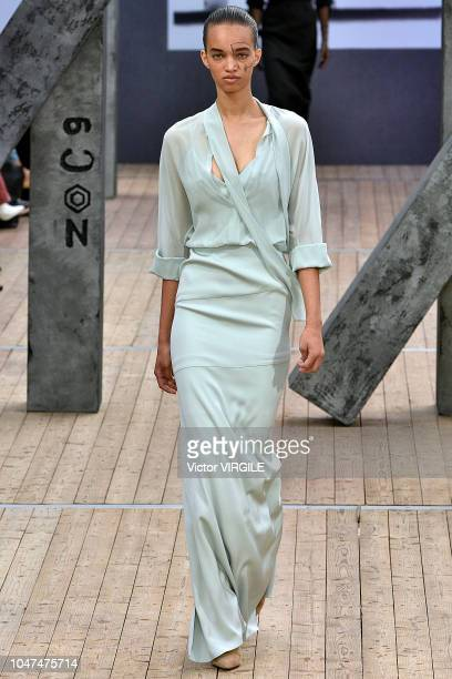 A model walks the runway during the Akris Ready to Wear fashion show as part of Paris Fashion Week Womenswear Spring/Summer 2019 on September 30 2018...
