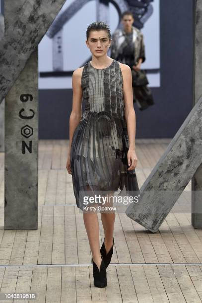 Model walks the runway during the Akris show as part of Paris Fashion Week Womenswear Spring/Summer 2019 on September 30, 2018 in Paris, France.