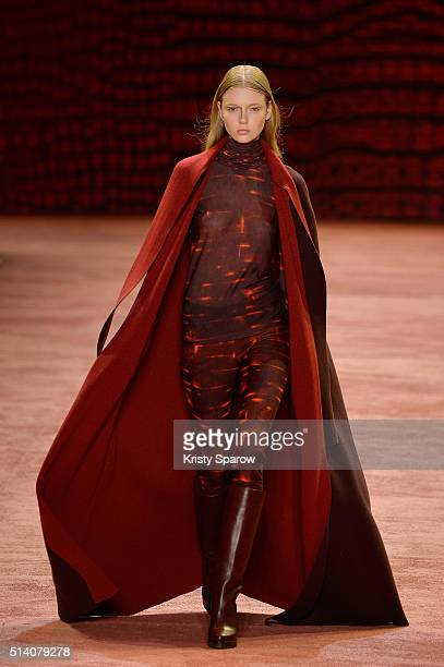 Model walks the runway during the Akris show as part of Paris Fashion Week Womenswear Fall/Winter 2016/2017 on March 6, 2016 in Paris, France.