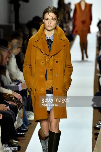 A model walks the runway during the Akris show as part of the Paris Fashion Week Womenswear Fall/Winter 2019/2020 on March 03 2019 in Paris France