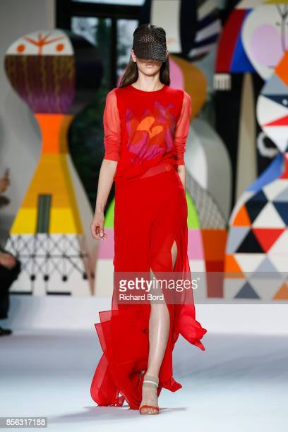 A model walks the runway during the Akris show at Palais de Tokyo as part of Paris Fashion Week Womenswear Spring/Summer 2018 on October 1 2017 in...