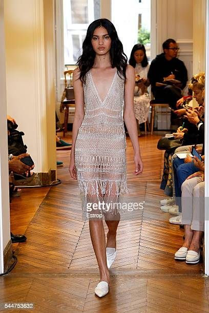A model walks the runway during the Alberta Ferretti Fall/Winter 20162017 show as part of Paris Fashion Week on July 3 2016 in Paris France
