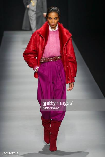 Model walks the runway during the Alberta Ferretti fashion show as part of Milan Fashion Week Fall/Winter 2020-2021 on February 19, 2020 in Milan,...