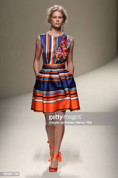 A model walks the runway during the Alberta Ferretti show as a part of Milan Fashion Week Womenswear Spring/Summer 2014 on September 18 2013 in Milan...