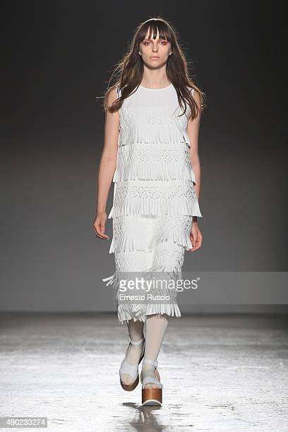 A model walks the runway during the Alberto Zambelli fashion show as part of Milan Fashion Week Spring/Summer 2016 on September 27 2015 in Milan Italy
