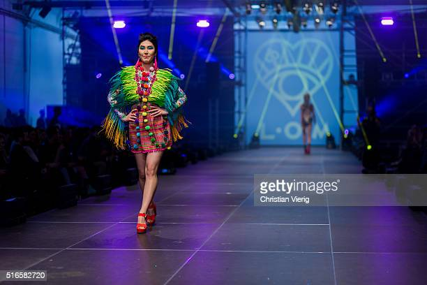 A model walks the runway during the 'ALCHEMY' Show during Berlin Alternative Fashion Week 2016 on March 19 2016 in Berlin Germany
