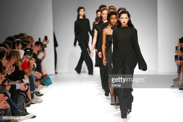 A model walks the runway during the Aleksandar Protic show as part of the Lisboa Fashion Week 'Moda Lisboa' 2018 on March 9 2018 in Lisbon Portugal