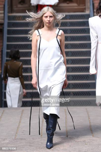 A model walks the runway during the Alexander Aryutunov Fall/Winter 2017/2018 collection fashion show during MercedesBenz Fashion Week Tbilisi on May...