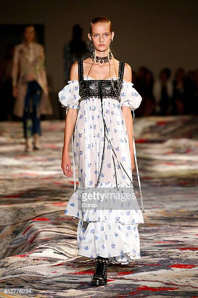 A model walks the runway during the Alexander McQueen designed by Sarah Burton show as part of the Paris Fashion Week Womenswear Spring/Summer 2017...