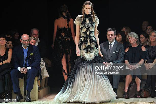 Model walks the runway during the Alexander McQueen Ready to Wear Spring/Summer 2011 show during Paris Fashion Week at on October 5, 2010 in Paris,...