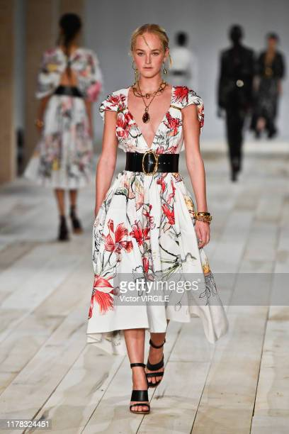 A model walks the runway during the Alexander McQueen Ready to Wear Spring/Summer 2020 fashion show as part of Paris Fashion Week on September 30...