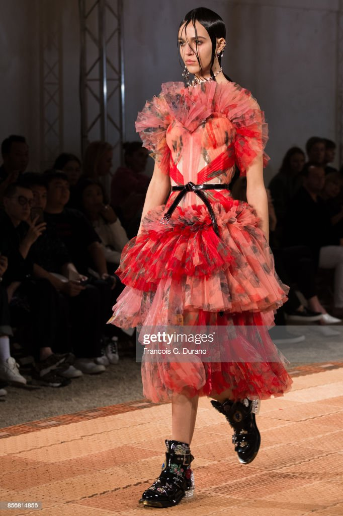 A model walks the runway during the Alexander McQueen show as part of the Paris Fashion Week Womenswear Spring/Summer 2018 on October 2, 2017 in Paris, France.