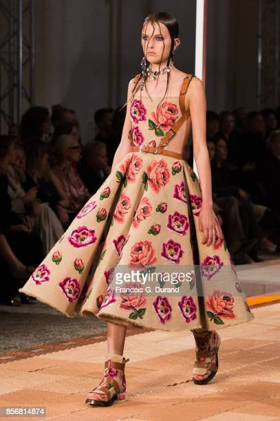 A model walks the runway during the Alexander McQueen show as part of the Paris Fashion Week Womenswear Spring/Summer 2018 on October 2 2017 in Paris...