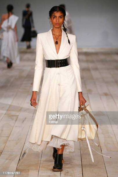 A model walks the runway during the Alexander McQueen Womenswear Spring/Summer 2020 show as part of Paris Fashion Week on September 30 2019 in Paris...