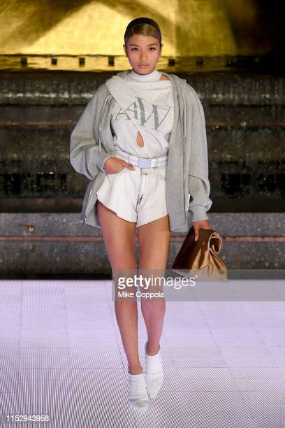 Model walks the runway during the Alexander Wang Collection 1 fashion show at Rockefeller Center on May 31, 2019 in New York City.