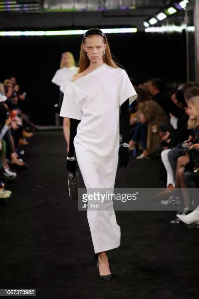 Model walks the runway during the Alexander Wang Fall 2019 show at One Hanson Place on December 1, 2018 in New York City.