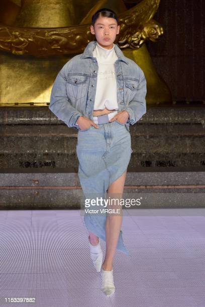 Model walks the runway during the Alexander Wang Ready to Wear Fall/Winter 2019/2020 at Rockefeller Center on May 31, 2019 in New York City.