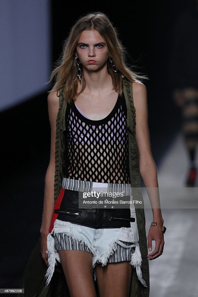 A model walks the runway during the Alexander Wang show as a part of Spring 2016 New York Fashion Week at Pier 94 on September 12, 2015 in New York City.
