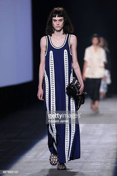 A model walks the runway during the Alexander Wang Spring/Summer 2016 fashion show at Pier 94 on September 12 2015 in New York City