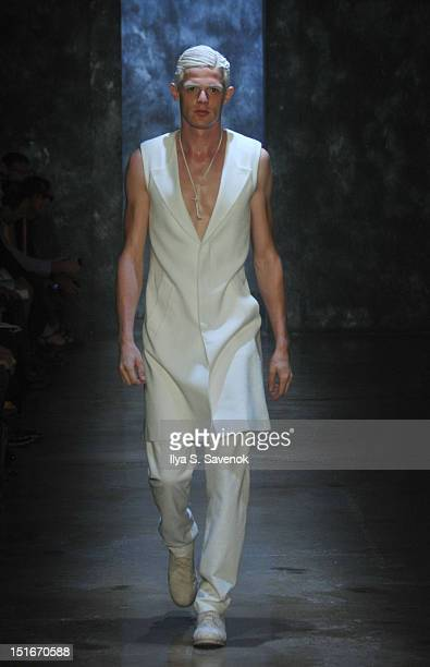 Model walks the runway during the Alexandre Plokhov show during Spring 2013 Mercedes-Benz Fashion Week at Milk Studios on September 9, 2012 in New...