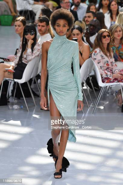 Model walks the runway during the Alexandre Vauthier Haute Couture Fall/Winter 2019 2020 show as part of Paris Fashion Week on July 02, 2019 in...