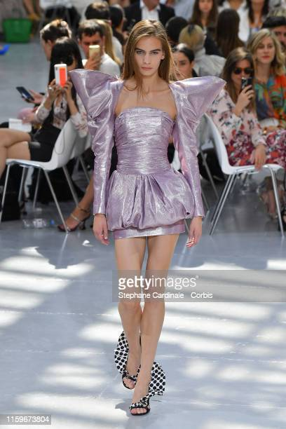 A model walks the runway during the Alexandre Vauthier Haute Couture Fall/Winter 2019 2020 show as part of Paris Fashion Week on July 02 2019 in...