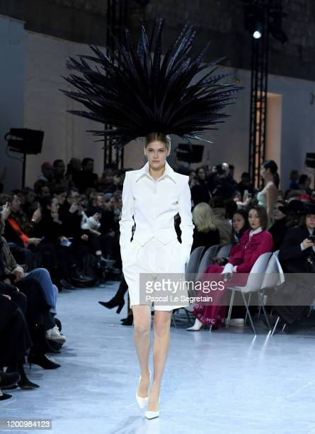 Model walks the runway during the Alexandre Vauthier Haute Couture Spring/Summer 2020 show as part of Paris Fashion Week on January 21, 2020 in...