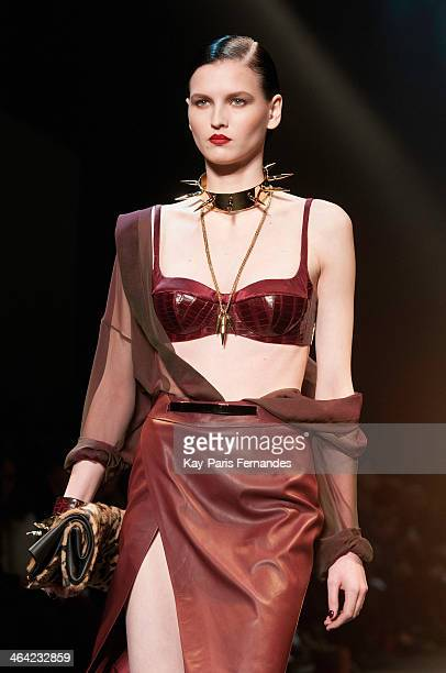 A model walks the runway during the Alexandre Vauthier show as part of Paris Fashion Week Haute Couture Spring/Summer 2014 on January 21 2014 in...