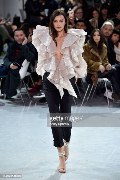 Model walks the runway during the Alexandre Vauthier Spring Summer 2019 show as part of Paris Fashion Week on January 22, 2019 in Paris, France.
