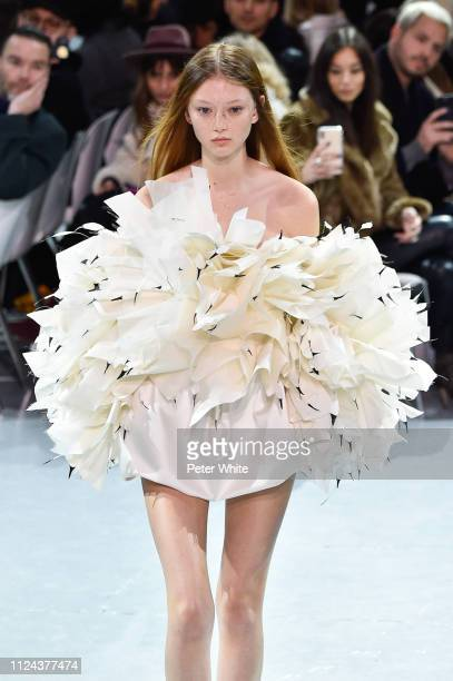 A model walks the runway during the Alexandre Vauthier Spring Summer 2019 show as part of Paris Fashion Week on January 22 2019 in Paris France
