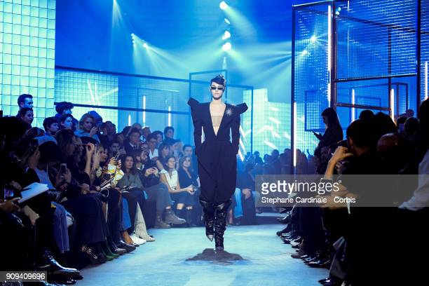 A model walks the runway during the Alexandre Vauthier Spring Summer 2018 show as part of Paris Fashion Week on January 23 2018 in Paris France