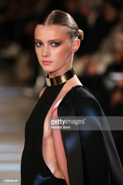 A model walks the runway during the Alexandre Vauthier Spring/Summer 2013 HauteCouture show as part of Paris Fashion Week at Palais De Tokyo on...