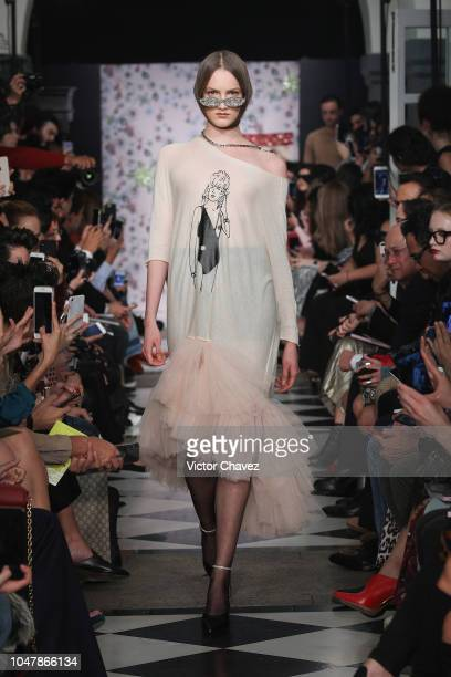 A model walks the runway during the Alexia Ulibarri fashion show at Mercedes Benz Fashion Week Mexico 2018 at Four Seasons Hotel on October 8 2018 in...