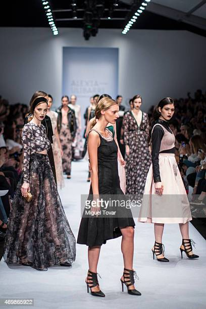 A model walks the runway during the Alexia Ulibarri Show as part of MercedesBenz Fashion Week Mexico Fall/Winter 2015 day 2 at Campo Marte on April...