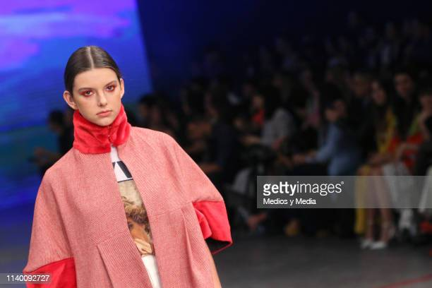 A model walks the runway during the Alexia Ulibarri show as part of the MercedesBenz Fashion Week Mexico Fall/Winter 2019 Day 2 at Fronton Mexico on...