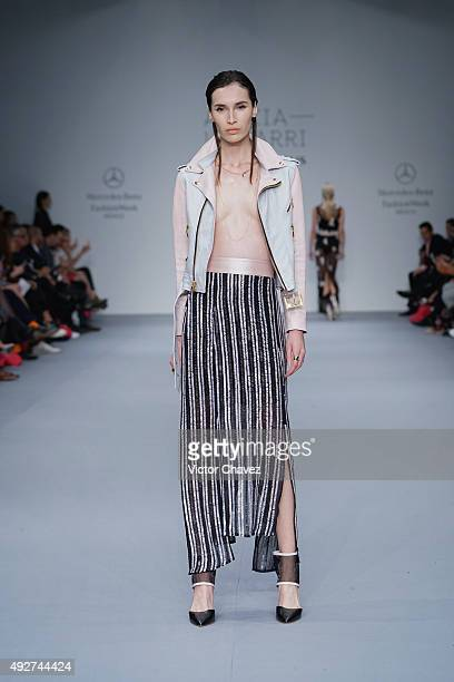 A model walks the runway during the Alexia Ulibarri show at MercedesBenz Fashion Week Mexico Spring/Summer 2016 at Campo Marte on October 14 2015 in...