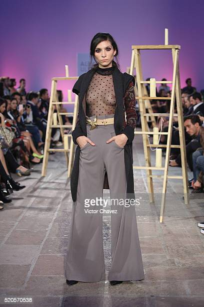 A model walks the runway during the Alexia Ulibarri show at MercedesBenz Fashion Week Mexico Autumn/Winter 2016 at Colegio De Las Vizcainas on April...